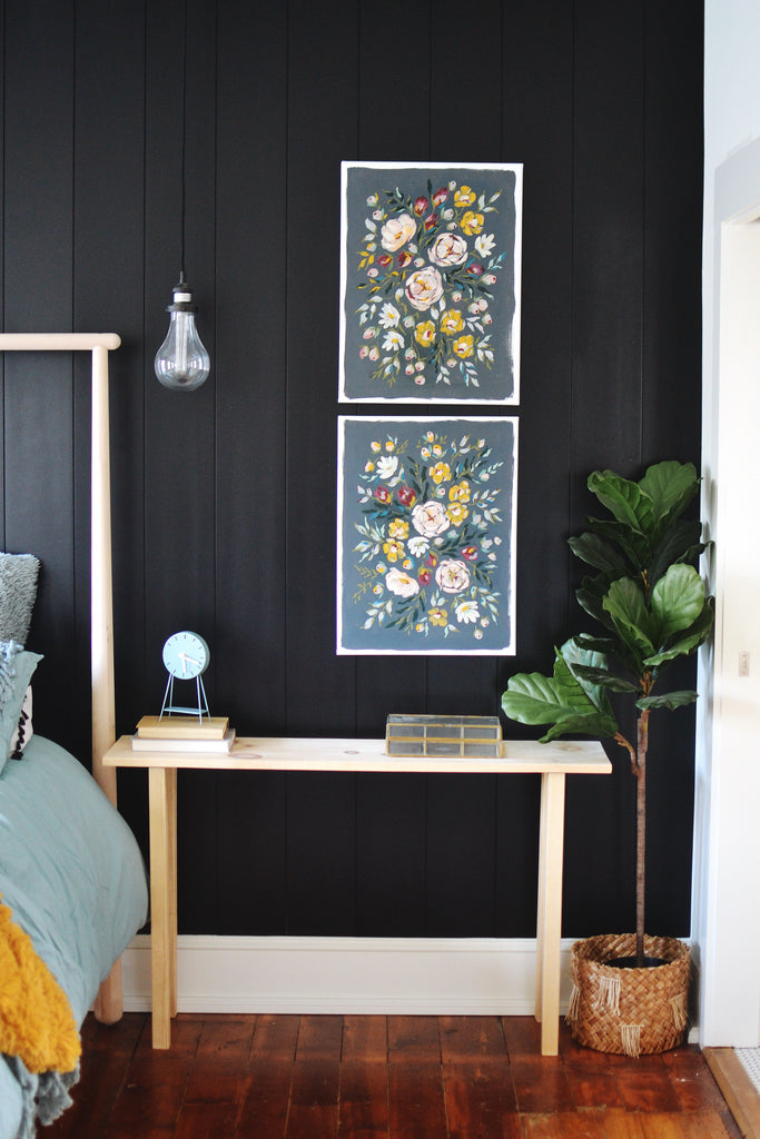 Modern home decor. Floral wall art. Floral acrylic painting. Mid century modern bedroom. Bedroom decor inspiration