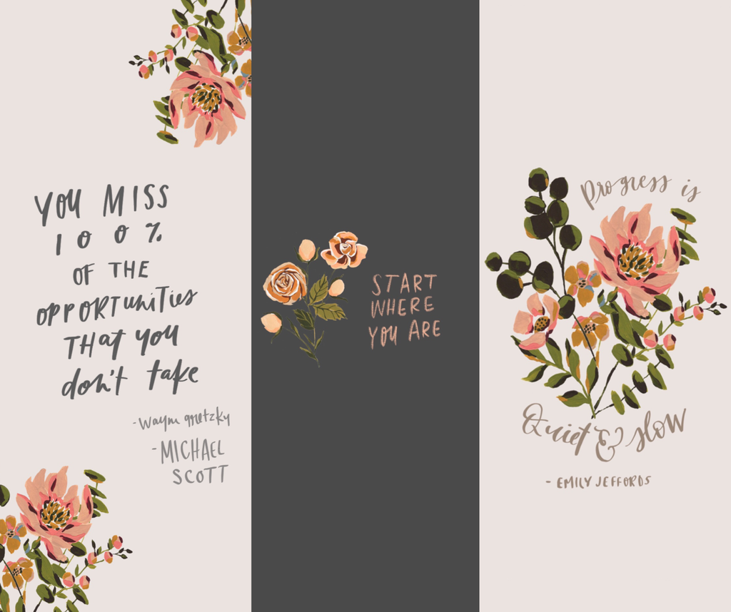 Inspirational quotes for positive mindset and goal setting. Quotes for women entrepreneurs. Hand lettered inspirational quotes. Botanical illustration