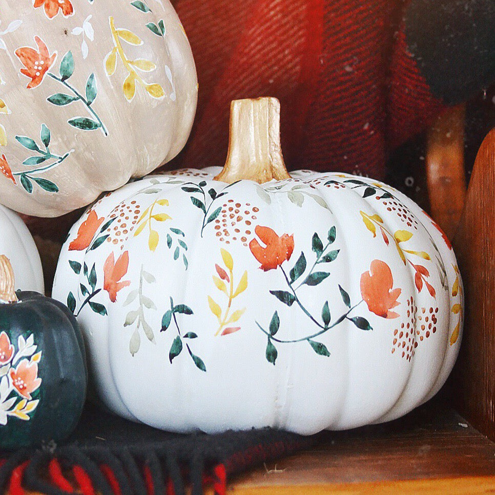 Fall | large white floral pumpkin