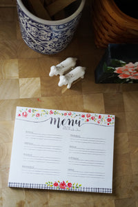 Notepad | Weekly meal planner floral notepad