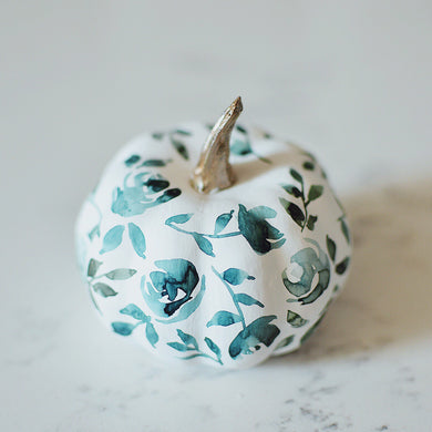 Fall | blue and white floral mini pumpkin