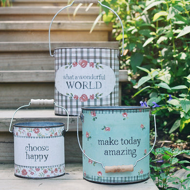 Set of 3 tin buckets