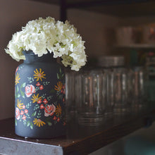 Hand painted vase | Charcoal grey