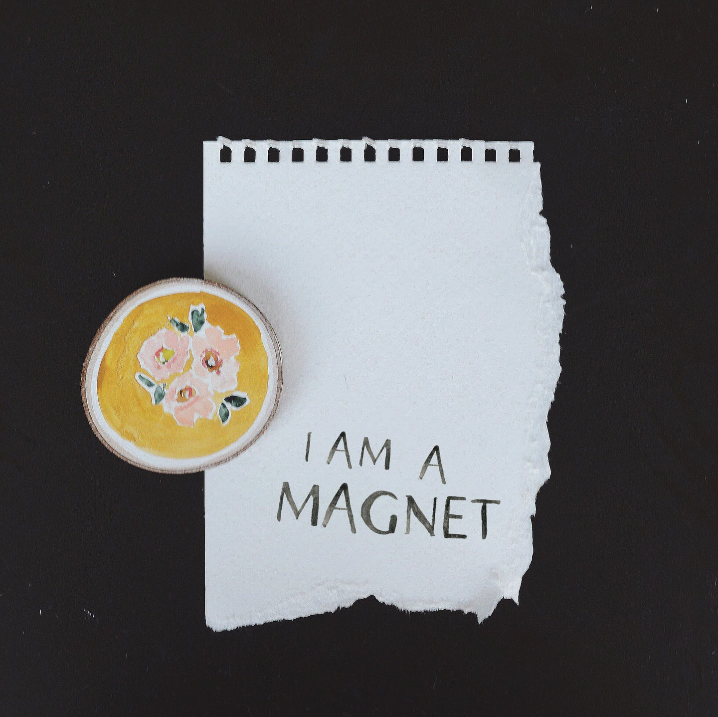 Magnet | Mustard yellow with pink floral