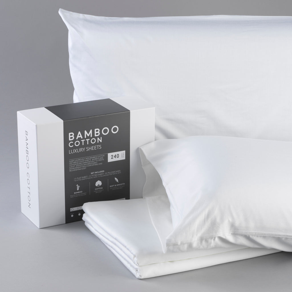 Bamboo Cotton Luxury Bed Sheets - White