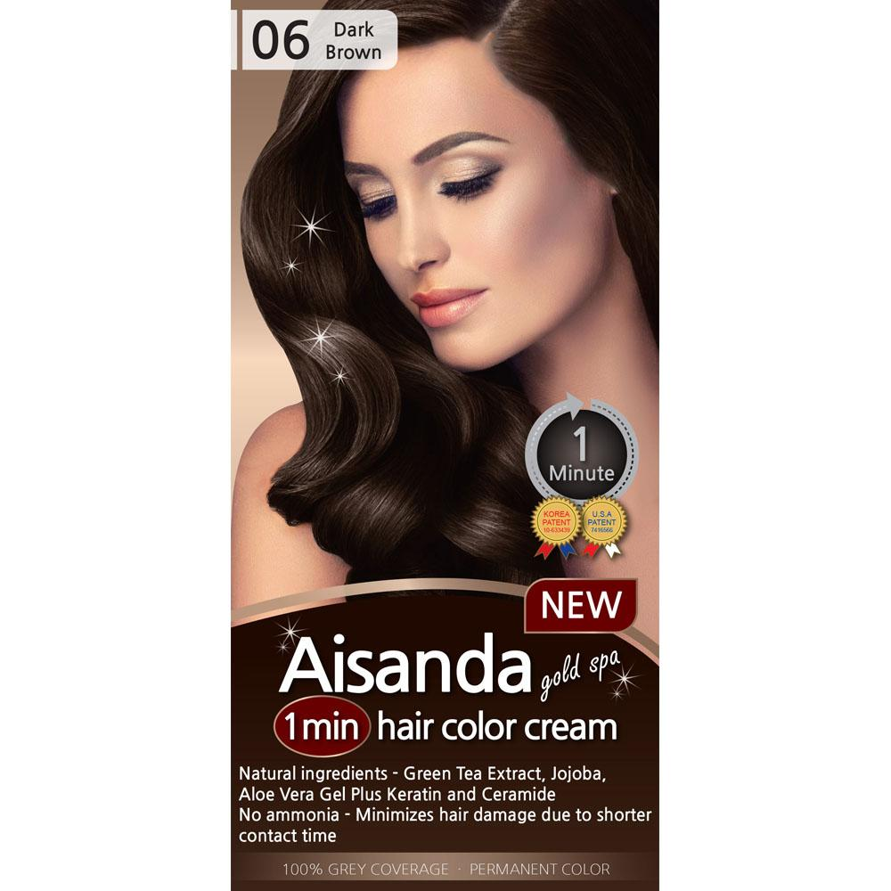 Aisanda Gold Spa 1 Min Hair Color Cream Dark Brown Shenroad
