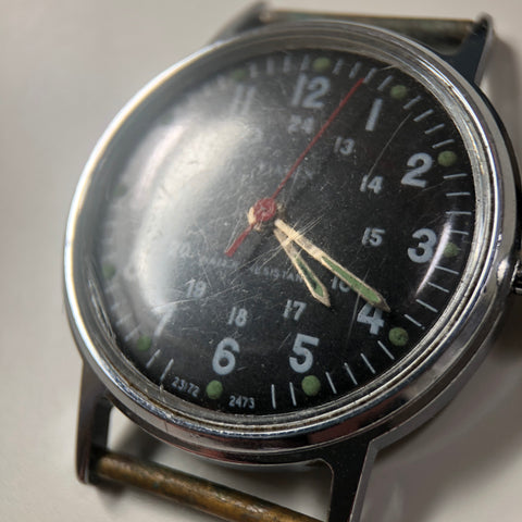 Timex watch face with scrathes