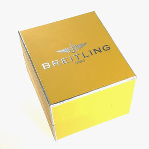 Yellow watch box breitling