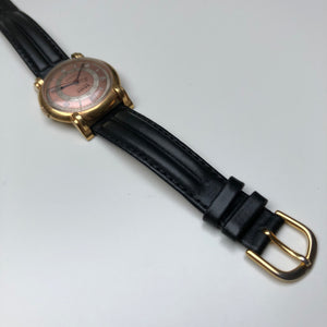 Vintage gents gold watch with black strap