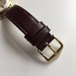 Hirsch calf leather strap gold buckle