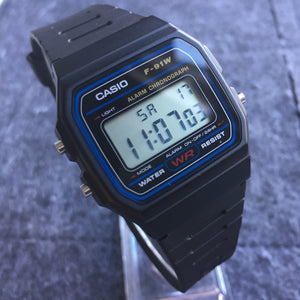 Casio F-91W on watch stand