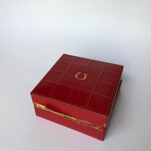 vintage red Omega watch box