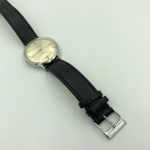 IWC watch with black leather strap