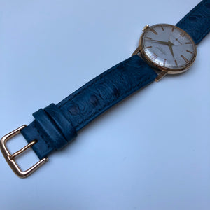 Watch  with blue ostrich strap
