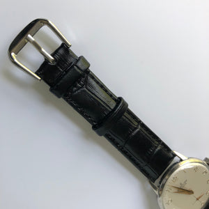 Crocodile embossed black leather watch strap