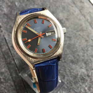 vintage LeGant watch on blue leather strap