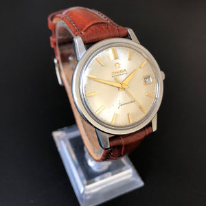 Omega Seamaster automatic two-tone watch on brown leather strap