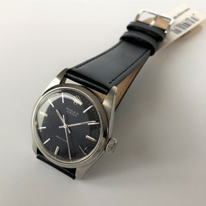 Vintage rolex black leather strap
