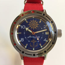 Vostok Amphibia watch Red Nato strap