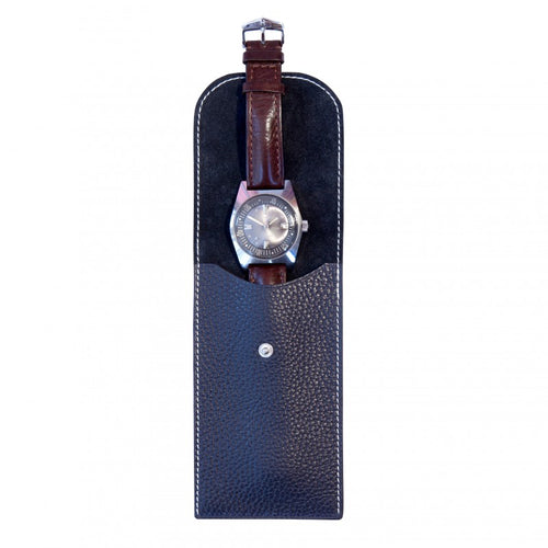 watch in blue leather pouch