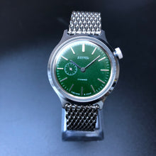 Green watch with steel bracelet