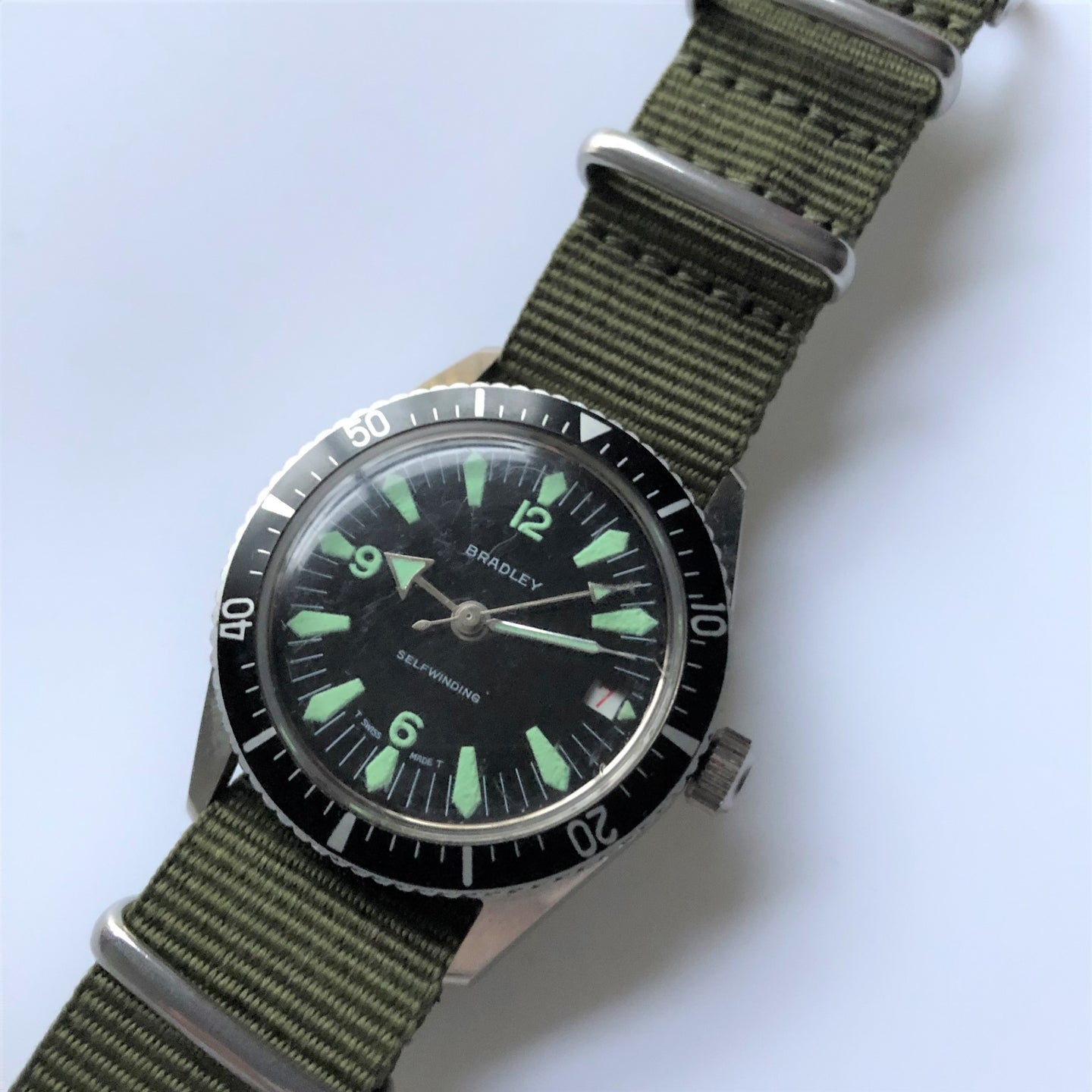 Vintage diving watch on nylon strap
