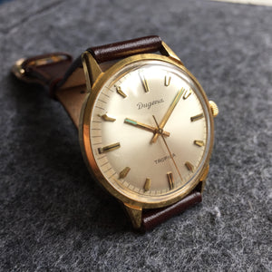 vintage dugena gold plated watch brown leather strap