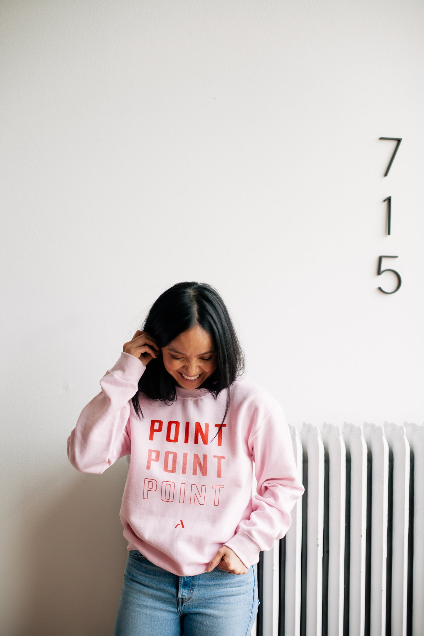 Point Crewneck Sweatshirt - Pink