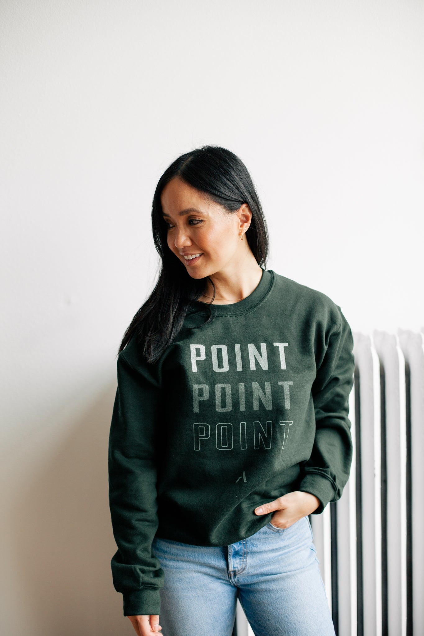 Point Crewneck Sweatshirt - Green