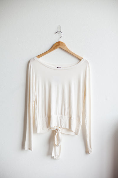 Lyric Long Sleeve Tie Top - La Crema (FINAL SALE)