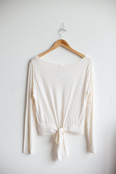 Lyric Long Sleeve Tie Top - La Crema