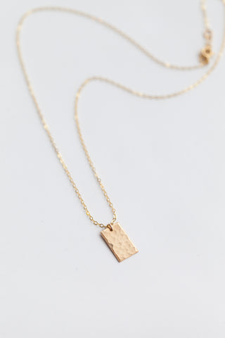 Mini Box Charm Necklace - Gold Fill