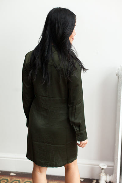 Tie Curious Dress - Bottle Green (FINAL SALE)