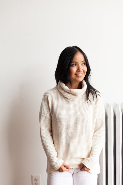 Knit Turtleneck Sweater - Ivory