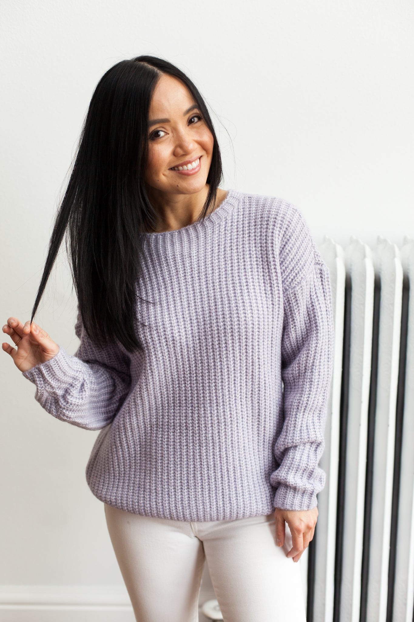 Knits A Look Sweater- Pale Lavender