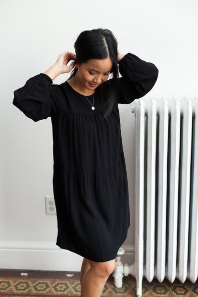 Tiered Crepe Dress