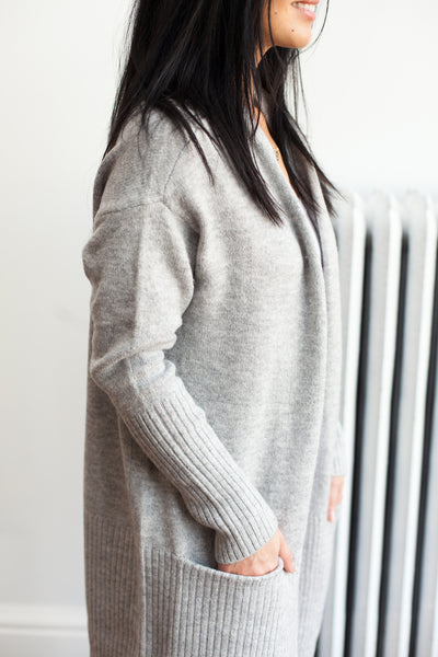 What's The Stitch Cardigan - Heather Grey