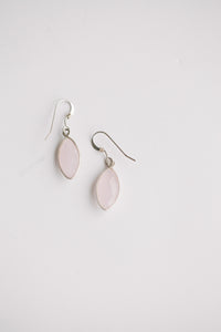 Rose Quartz Marquis Cut Earrings - Sterling Silver