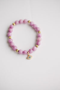 8mm Dark Pink Jade w/ Eye Charm