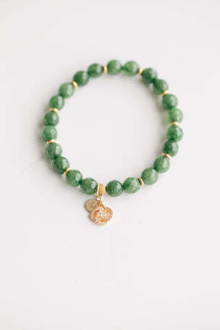 8mm Dark Green Jade w/ Galaxy Pave Charm