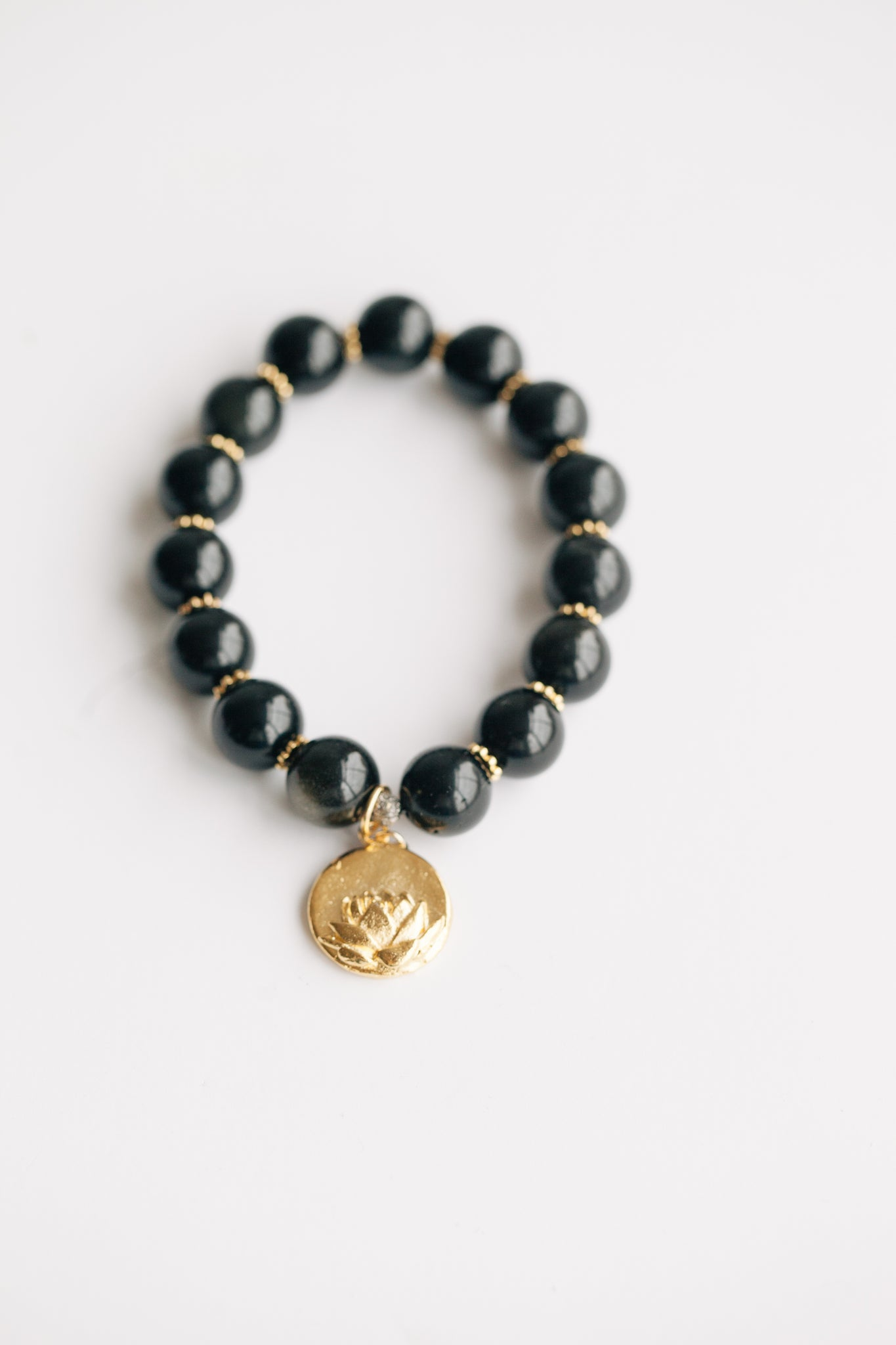 12mm Black Obsidian w/ Lotus Charm