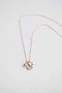 Trio Charm Necklace - Coin/Silver