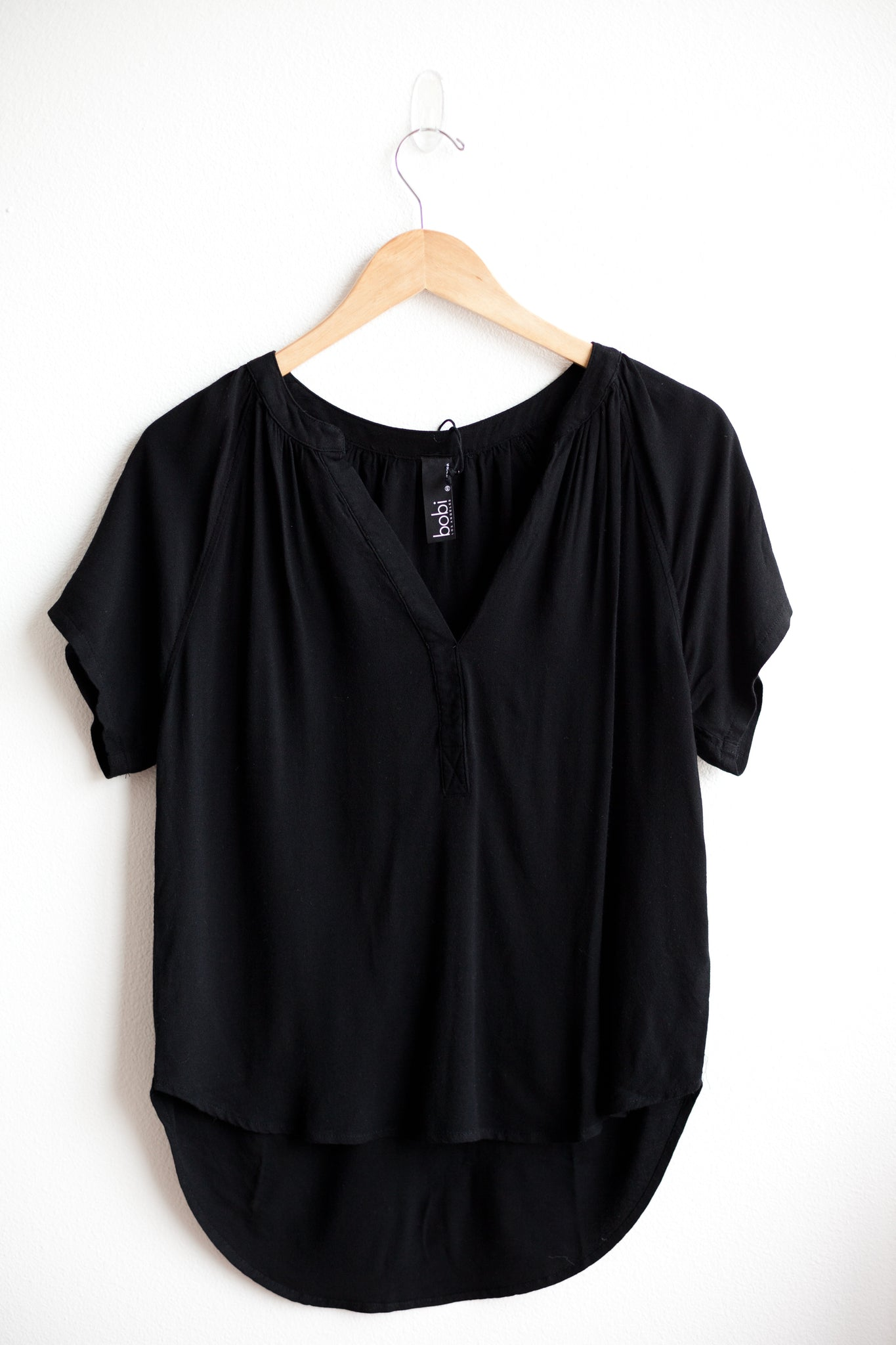 Split Raglan Top - Black