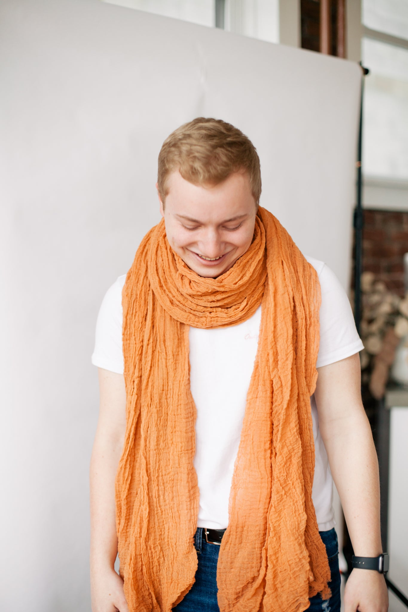 Cotton Giant Scarf - Salmon