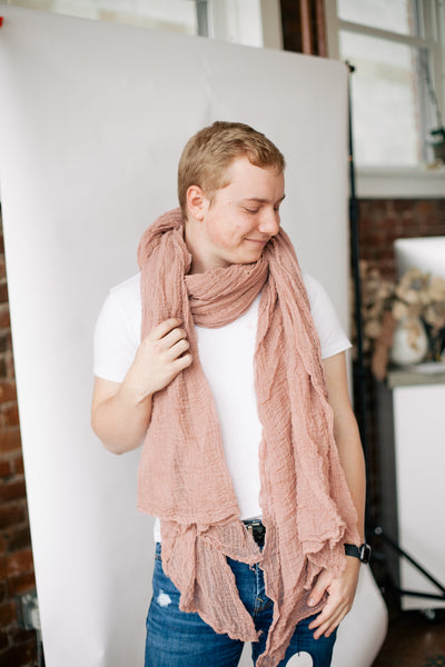 Cotton Giant Scarf - Pink Clay