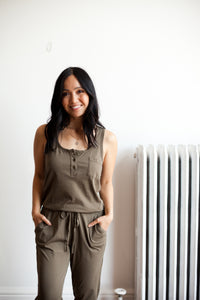 Henley Jumpsuit - Green (FINAL SALE)