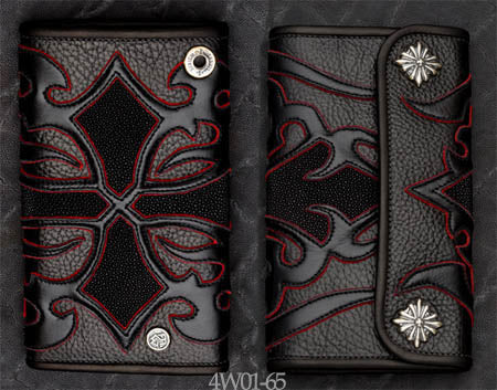 Large 3-Fold Black Leather Wallet w/ Tribal Cross Art, Black Stingray Inlay, and Red Suede Trim