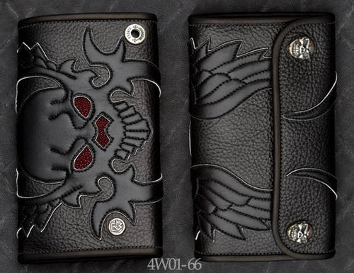 Large 3-Fold Black Leather Wallet w/ Winged Skull Art, Burgundy Stingray Inlay and White Suede Trim