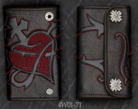 Large 3-Fold Black Leather Wallet w/ Heart Graphic, Red Stingray Inlay and Red Suede Trim