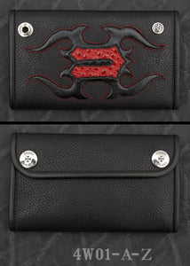Large 3-Fold - Alphabet Wallet - Black Leather - Red, White and Blue color choices of Inlay and Trim
